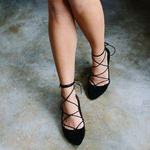 Breckelles Ballet Flats Ankle Wrap Black Taylor 9